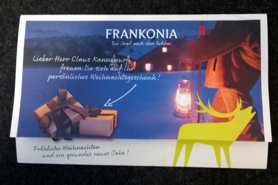 weihnachtsgeschenk von frankonia waidmanns dank. Black Bedroom Furniture Sets. Home Design Ideas