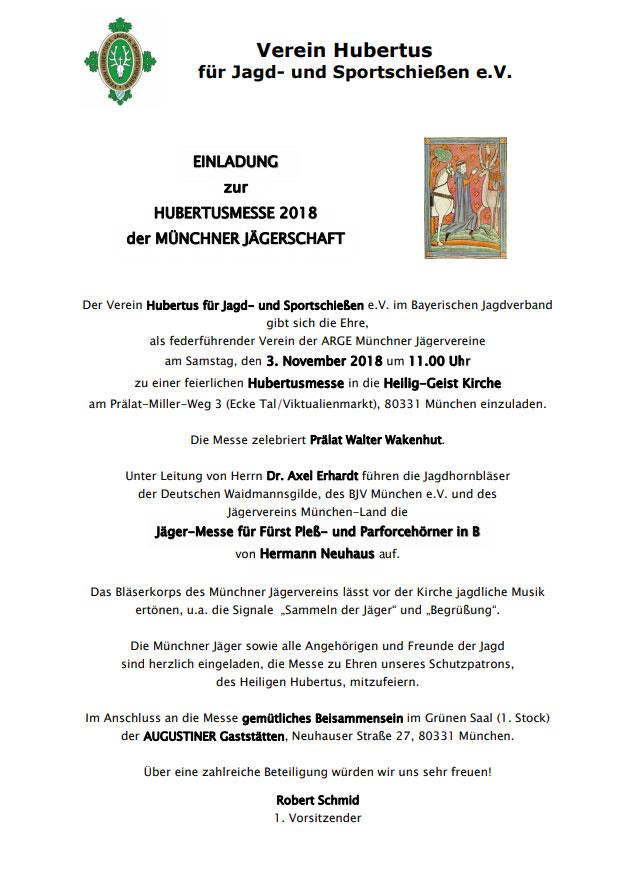 Hubertusmesse Einladung